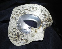 Phantom of the Opera Mask in Silver and Ivory