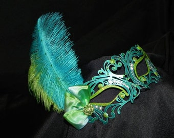 Metallic Masquerade Mask in Turquoise, Lime and Silver