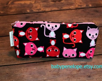 OOAK - Pencil Case/Cosmetic Bag/ Gadget Case - Cats - Ready to Ship