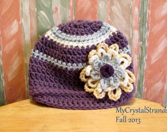 NEW  Buggs -  Crochet Baby Newboy Cap with Three Tier Flower Purple, Blue, and Ivory