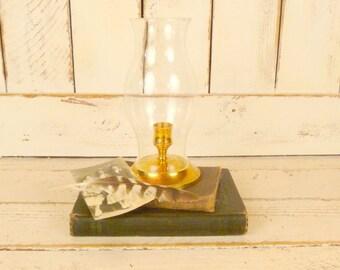 Vintage hurricane lamp/brass hurricane candle holder/brass taper candle holder