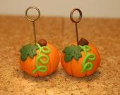 polymer clay pumpkins- set of 2 photo, place card holders