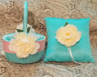 flower girl basket and ring bearer pillow light turquoise