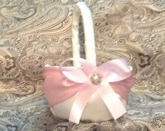 flower girl basket wedding white or ivory and light pink custom made