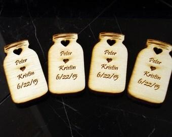 250 Mason Jar Wedding favors Personalized Wood Cut out