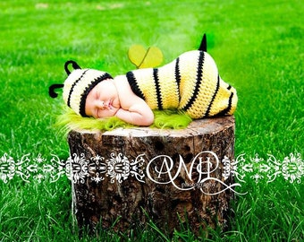 Photography Prop Bumble Bee Cocoon and Hat Set Newborn Prop