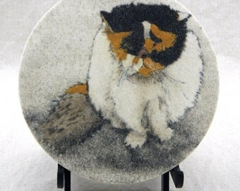 "Grumpy cat original sand painting 7"" circle art work flat faced cat painting smooshed face calico cat art commissions welcome"
