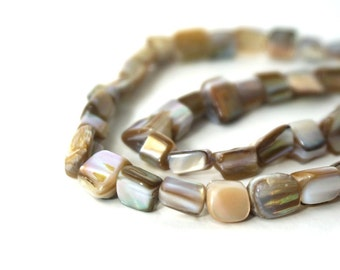 Mother of Pearl Beads, natural nuggets,  full bead strand, 739H