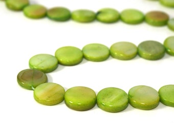 Mother of Pearl, 10mm flat round, apple green,  full bead strand (805H)