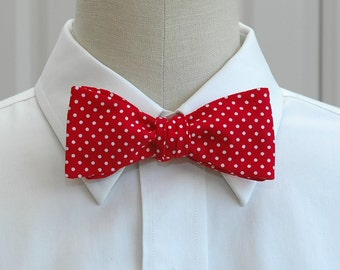 Men's Bow Tie in red with white mini polka dots (self-tie)