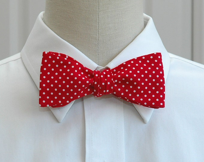 Men's Bow Tie, red with white mini polka dots bow tie, fire engine red bow tie, wedding bow tie, scarlet & white bow tie, groom bow tie,