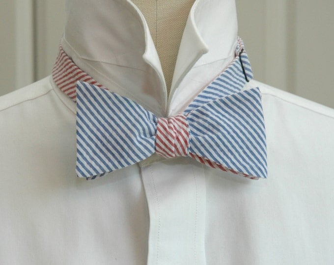 Men's Reversible Bow Tie, blue & red seersucker, wedding party tie, groom bow tie, groomsmen gift, preppy bow tie, self tie bow tie,
