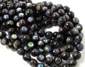 Ebony Wood with Abalone Shell Inlay, 10mm, Round, Natural Wood and Shell, Round, Smooth, 10mm, 7.5-8 Inch Strand - ID 1054