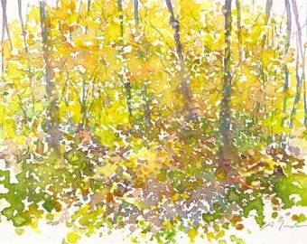Small format No.18 - New England Fall - 5x7inches original watercolor painting