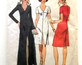 70s Simplicity 5056 Empire Waist Dress with Front Center Slit - Size 10 Bust 32