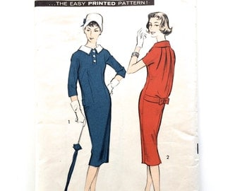 50s Advance 8684 Back Bloused Dress with Back Bow Slim Skirt - Size 16 Bust 36