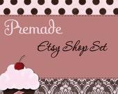 Bella Cupcake -- Premade Etsy Shop Banner and Avatar Set -- Pink Brown Damask