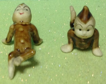 Rare Set of Pixie Elves Tumbling Figurines From the 1950's