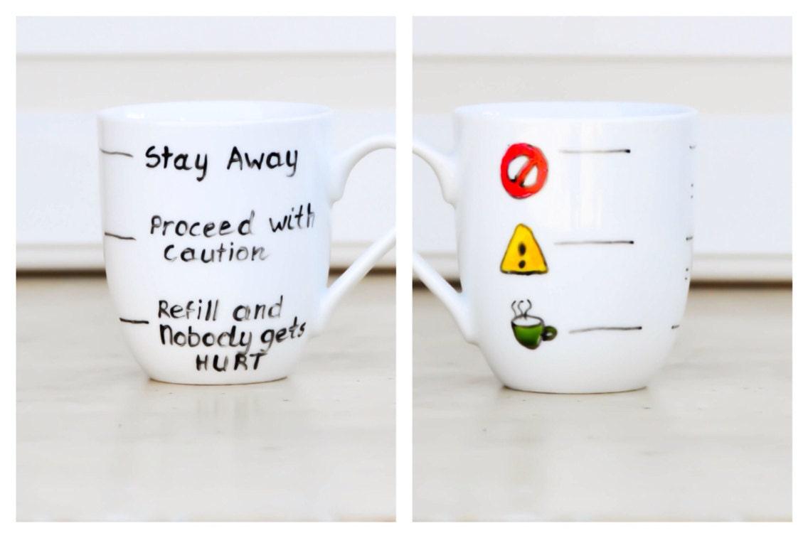 Coffee Mug Design Ideas stenciled mug craft ideas Fill Line Mug Warning Coffee Mug Funny Text Cup Traffic Light Tea Cup