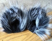 Black and White Fuzzy Cat Ear Clips Gray Kitty ears with or without Tail Wolf ears