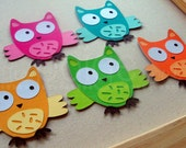 Owl Embellishment Die Cuts in Bright Rainbow Colors - 10 - party hoot owl collection