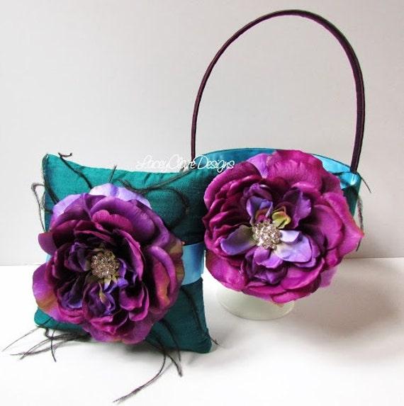 Flower Girl Basket And Ring Bearer Pillow Set Peacock Wedding