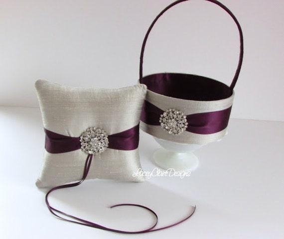custom flower basket and wedding ring pillow