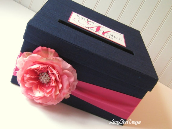 Wedding Card Money Box Bridal Shower Card Holder - Custom - Navy and Fuchsia
