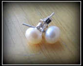 6mm 925 White Pearl Stud Earrings,Pearl Earrings,Stud Earrings,Bridesmaid Gift,Gift,Anniversary,Wedding