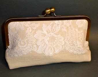 Bridal Clutch or Bridesmaid Clutch Linen and Lace Trim