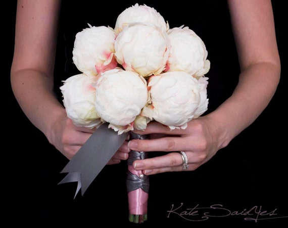 Ivory Peony Wedding Bouquet - Ivory Blush and Gray Wedding Bouquet