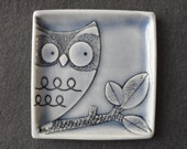 Owl ring dish handmade porcelain small plate pale blue glazed jewelry holder favour small gift for animal lover