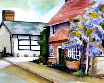 Steeple Ashton, Leafy Lane; Original Watercolour and Mixed Media Painting