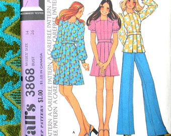 Vintage 70s Sewing Pattern McCall's 3868 - Mini Dress and Bellbottom Pants/Flares - Vintage Misses Size 14/Bust 36 - McCalls Modern Size 7/8