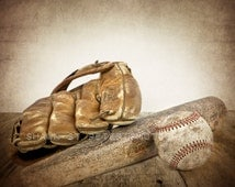 Vintage Baseball, bat and glove Photo Print ,Decorating Ideas, Wall Decor, Wall Art,  Kids Room, Nursery Ideas, Gift Ideas,