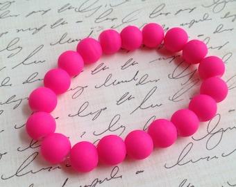 Neon Pink Stretch Bracelet