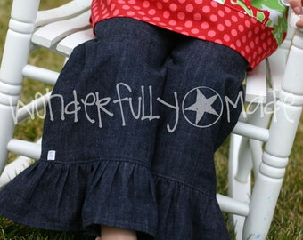 Girls Denim Ruffle Pants or Capris