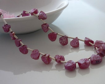 Mystic pink sapphire hammer faceted heart briolette beads 5.5-8.5mm full strand