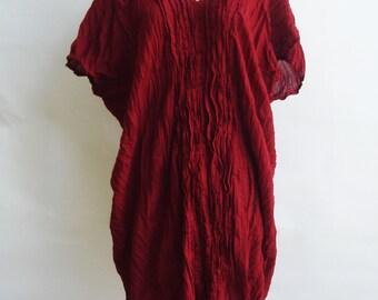 D3, Free Size Free Spirit Red Cotton Dress