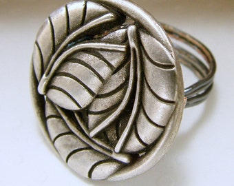 Leaves Button Ring - Any Size - Wirewrapped