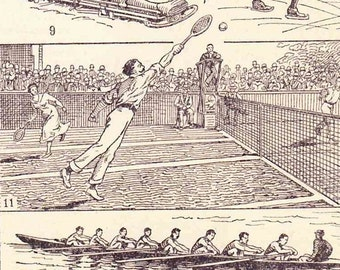 Beautiful Antique French Print 1920s Engraved iIlustrations Sports athletics  Book Page