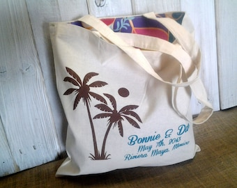 10 LINED Custom Canvas Destination Wedding Welcome Tote Bags - Eco-Friendly Natural Cotton Canvas