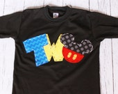 2 mickey mouse birthday shirt, two, 2nd, girl boy t shirt,