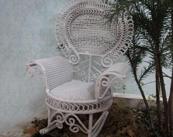 White Fairy Garden Accessories, Victorian Rocking Chair
