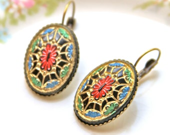 Vintage Red Gold Black Blue Green Mosaic Gold Plated Lever Back Drop Dangle Earrings -Holiday, Christmas, Wedding