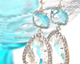 Sky Blue Aqua Blue Crystal Clear Square Silver Rhinestone Drop Earrings- Statement Earrings, Wedding, Bridal ,Christmas, Bridesmaid