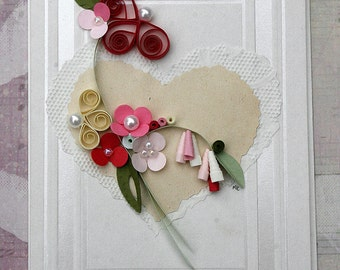 Quilled Valentines Day Card, Wedding, Annivesary, All Occasion, New Baby, Embellished Paper - Lavender - Pink-Cream - Red