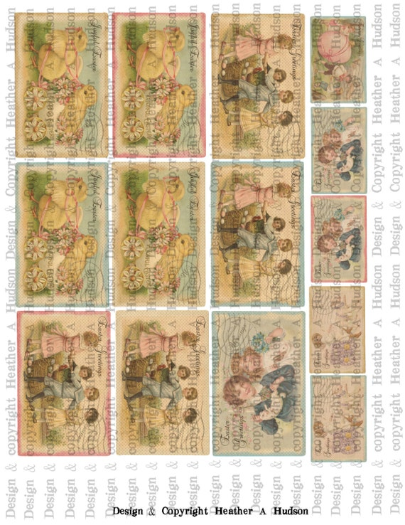 Vintage Shabby Chic Easter Post Card Focals Digital Collage sheet Printable