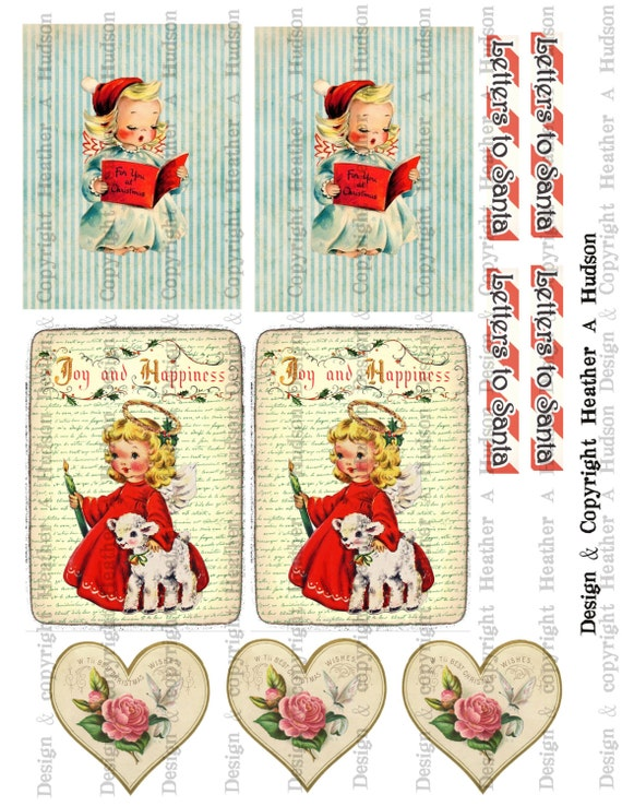 Victorian Vintage Christmas Angels Shabby Images  Digital Collage sheet Printable