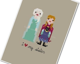 Elsa & Anna - I <3 My Sister - The *Original* Pixel People - PDF Cross-stitch Pattern - Instant Download